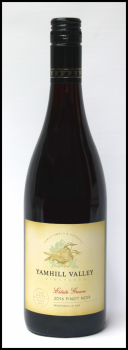 A bottle of 2016 Estate Pinot Noir.